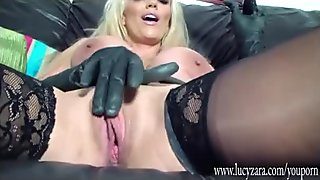 Taste hot busty blonde latex Mistress tight wet pussy as she wanks with toy