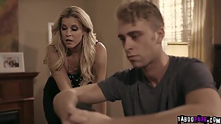 Blonde stepmom India Summer feeds her stepson making him eat and lick her milf twat making it more wet