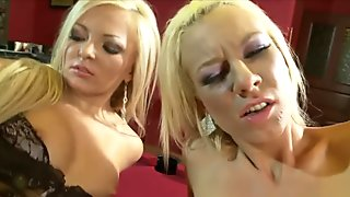 Horny Angelina Love and Jenny Lovely playing in a bar