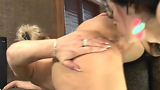 Young lesbian fucks two older moms at once
