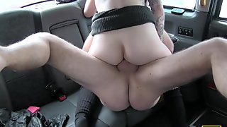 Pretty blond passenger banged in the cab