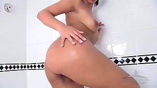 Extremely hairy ebony slut taking a hot shower