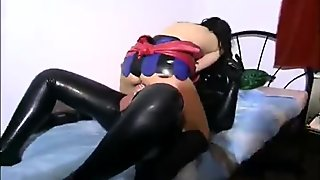Lovely slave girl getting destroyed by two naughty masters on bed