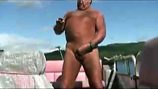 Fat grandpa cum on boat