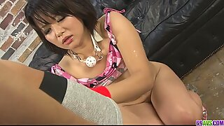 Nasty Asian bimbo with hairy snatch pussy fondled