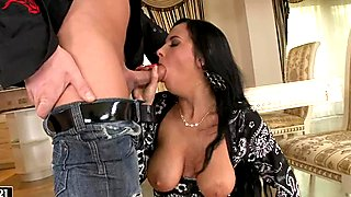 Nasty bitch Candy Alexa puts a huge cock into her sweet little mouth
