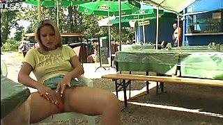 Perverted blondie Ingrid B masturbates for orgasm in the sidewalk cafe