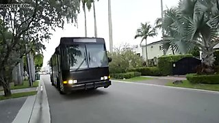 Hot Arya Fae gets fucked on a party bus full of students