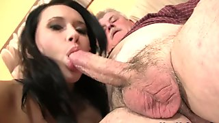 Old man doggy-fucks his brunette girlfriend!