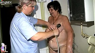 Naughty lesbian whore gets her greasy pussy washed properly